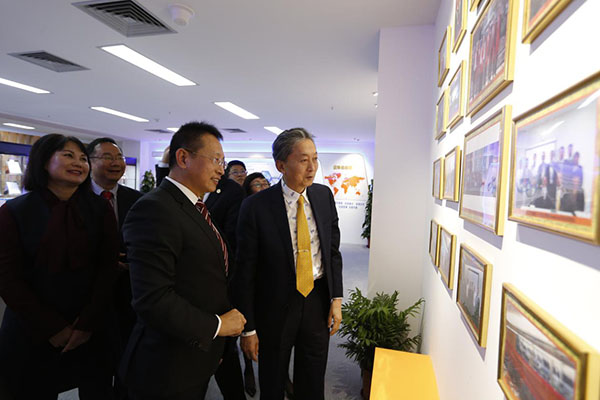 Yukio Hatoyama , the Japan's former Prime Minister visits the exhibition hall