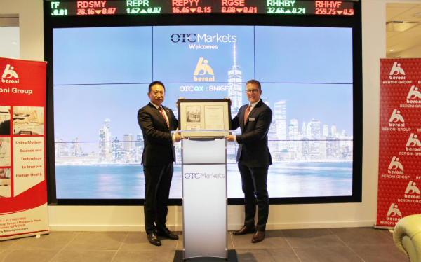 Jason Paltrowitz, Executive Vice President of Corporate Services at OTC Markets Group conferred the Trading Certificate to Beroni Group