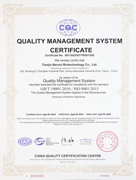ISO9001 Quality Management System Certificate (English version)