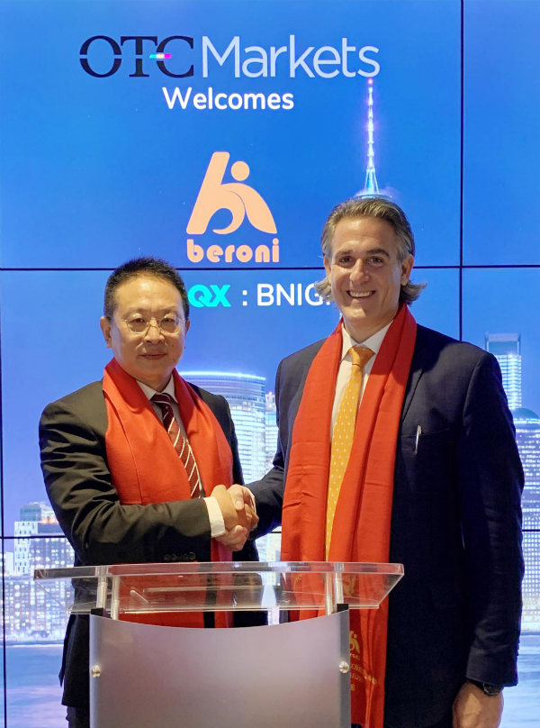 Picture of Mr. Jacky Zhang, Executive Chairman of Beroni Group and Mr. Bradford M. Hoffman, Director of Maxim Group