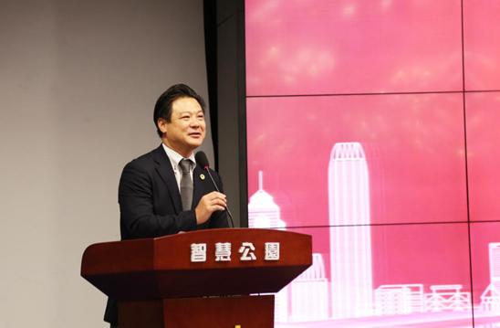 Mr. Tsutomu Takamura, President of Japan-China Belt and Road Trade Promotion Association reading Mr. Yukio's letter