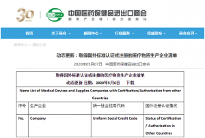 Beroni China (product: SARS-CoV-2 IgG/IgM Antibody Detection Kit) is included in the List of Medical Devices and Supplies Companies with Certification/Authorization from Other Countries